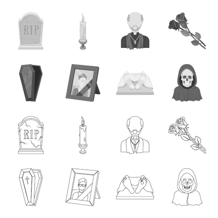 Funeral ceremony set collection icons in outline monochrome style vector symbol stock illustration web.