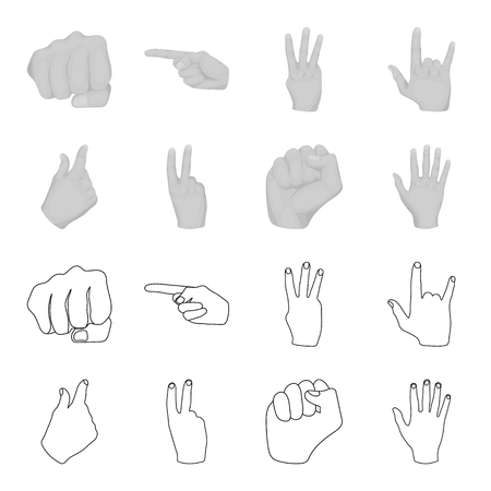 Hand gesture set collection icons in outline monochrome style vector symbol stock illustration web.