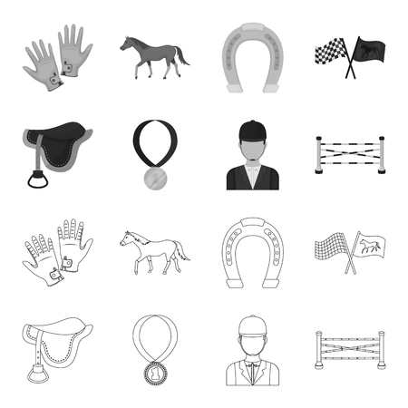 Horse accessories set collection icons in outline monochrome style vector symbol stock illustration web.