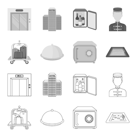 Hotel set collection icons in outline monochrome style vector symbol stock illustration web.
