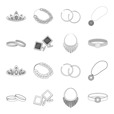 Jewelry and accessories set collection icons in outline monochrome style vector symbol stock illustration web.