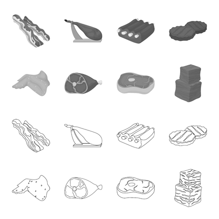 Meat set collection icons in outline monochrome style vector symbol stock illustration web.