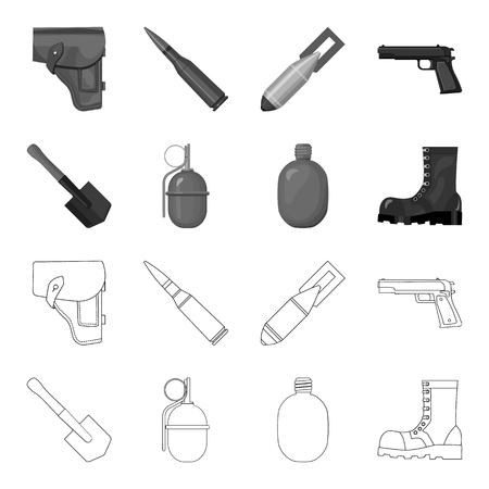Military and army set collection icons in outline monochrome style vector symbol stock illustration web.