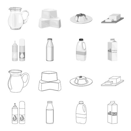 Milk products and related icons set collection.