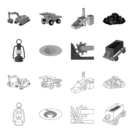 Mining industry set collection icons in outline monochrome style vector symbol stock illustration web.