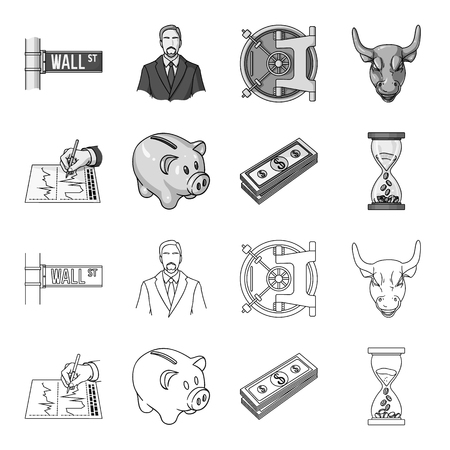 Money and Finance set collection icons in outline monochrome style vector symbol stock illustration web.