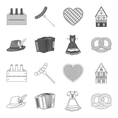Beer festival set collection icons in outline monochrome style vector symbol stock illustration web.