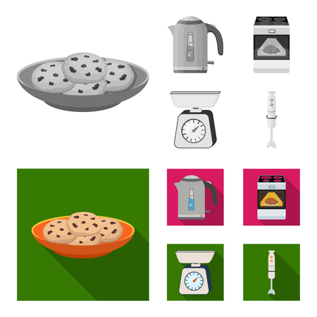 Kitchen equipment monochrome, flat icons in set collection for design. Kitchen and accessories vector symbol stock web illustration.