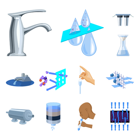 Water filtration system cartoon icons in set collection for design. Cleaning equipment vector symbol stock  illustration.