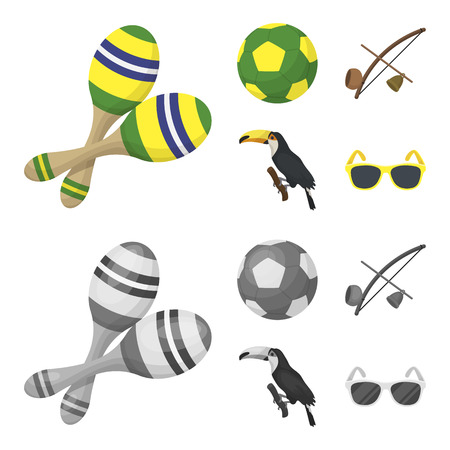 Brazil, country, ball, football . Brazil country set collection icons in cartoon,monochrome style vector symbol stock illustration web.