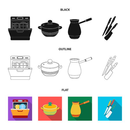 Kitchen equipment black,flat,outline icons in set collection for design. Kitchen and accessories vector symbol stock  illustration.