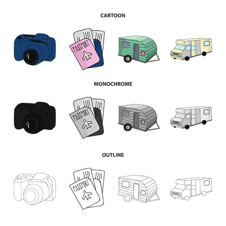 Vacation Photo Camera Passport Family Holiday Set Collection Icons In Cartoon Outline Monochrome Style Vector Symbol Stock Illustration Web Royalty Free Vector Graphics