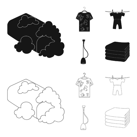 Vacuum cleaner, a stack of cloth, dirty and clean things. Dry cleaning set collection icons in black,outline style vector symbol stock illustration .