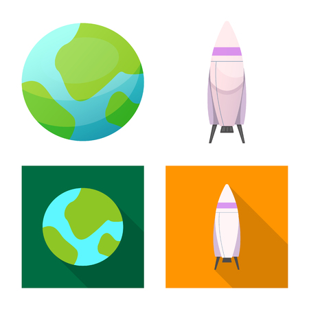 Isolated object of mars and space sign. Collection of mars and planet vector icon for stock.