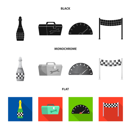 Vector design of car and rally symbol. Set of car and race vector icon for stock.