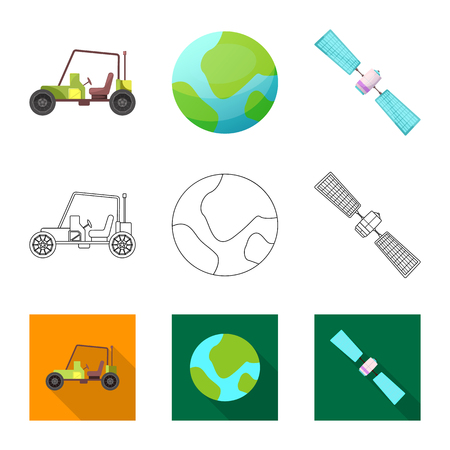 Isolated object of mars and space icon. Collection of mars and planet stock symbol for web.