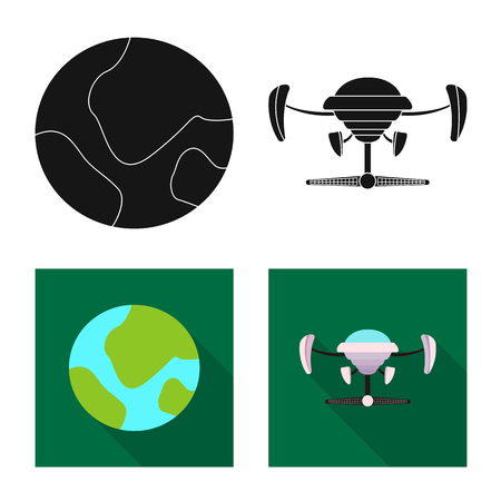 Vector illustration of mars and space icon. Set of mars and planet vector icon for stock.