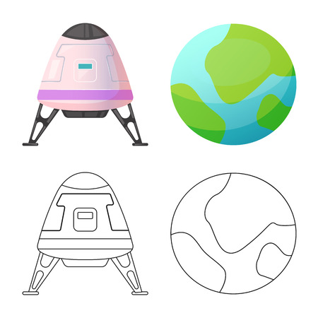 Isolated object of mars and space logo. Collection of mars and planet stock symbol for web.