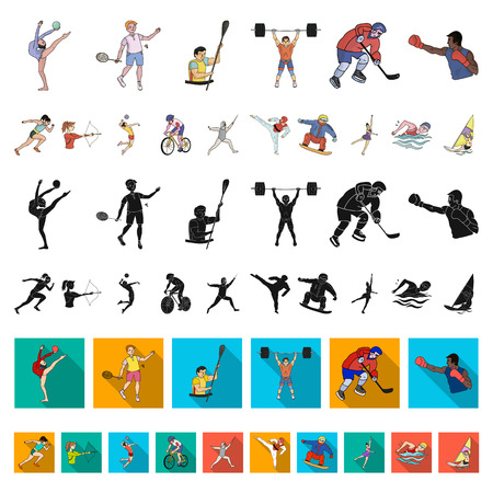 Different kinds of sports cartoon icons in set collection for design. Athlete, competitions vector symbol stock  illustration.