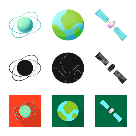Vector design of mars and space symbol. Set of mars and planet stock symbol for web.