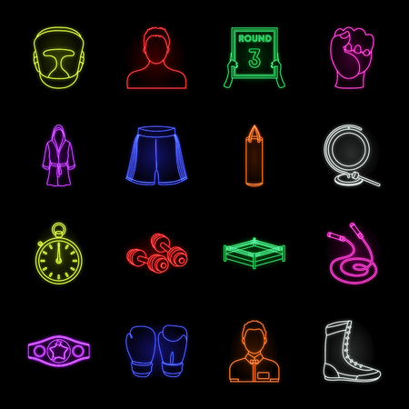 Boxing extreme sports neon icons in set collection for design. Boxer and attributes vector symbol stock web illustration.