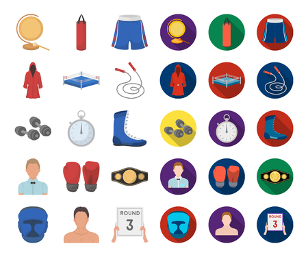 Boxing extreme sports cartoon,flat icons in set collection for design. Boxer and attributes vector symbol stock web illustration.
