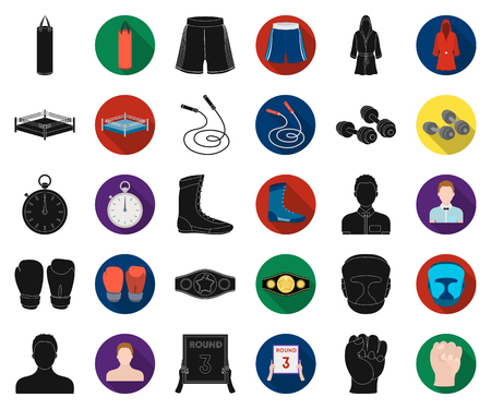 Boxing extreme sports black,flat icons in set collection for design. Boxer and attributes vector symbol stock web illustration.