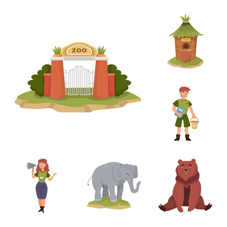 Vector design of zoo  and park sign. Collection of zoo  and animal stock vector illustration.
