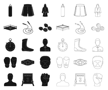 Boxing extreme sports black,outline icons in set collection for design. Boxer and attributes vector symbol stock web illustration.