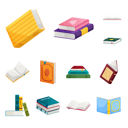 Illustration for Vector illustration of library and bookstore. Collection of library and literature  vector icon for stock. - Royalty Free Image