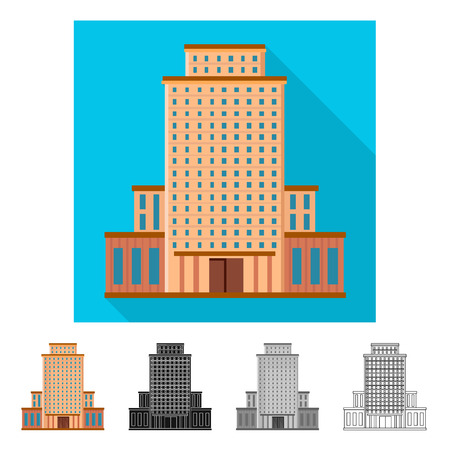 Illustration pour Isolated object of hotel and high symbol. Set of hotel and tourism stock vector illustration. - image libre de droit