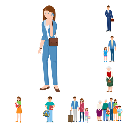 Illustration for Isolated object of family  and people. Set of family  and avatar  stock symbol for web. - Royalty Free Image
