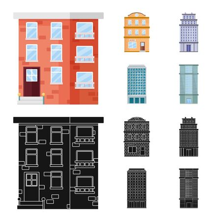 Illustration for Vector illustration of municipal and center icon. Collection of municipal and estate stock vector illustration. - Royalty Free Image
