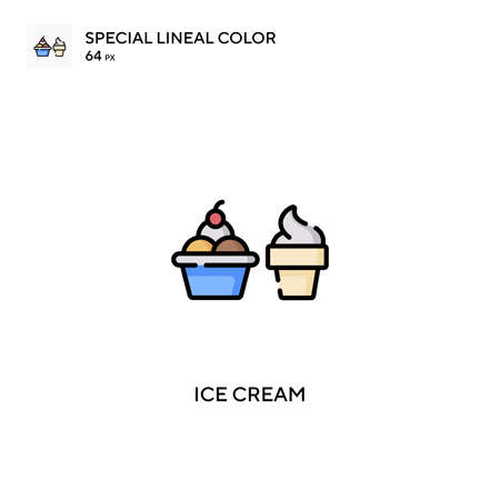 Ice cream Special lineal color vector icon. Ice cream icons for your business project