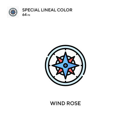 Wind rose Special lineal color icon.Wind rose icons for your business project