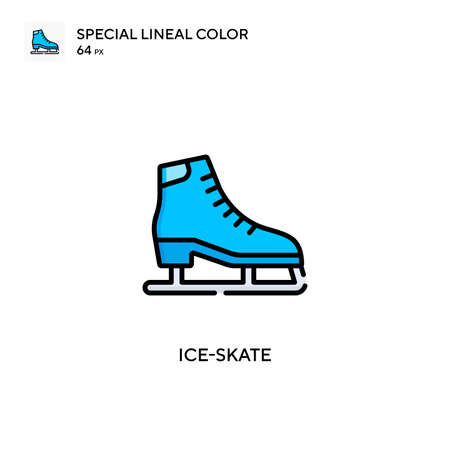 Ice-skate Special lineal color icon. Illustration symbol design template for web mobile UI element. Perfect color modern pictogram on editable stroke.