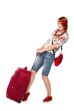 Beautiful redheaded tourist woman   Isolated on a white background