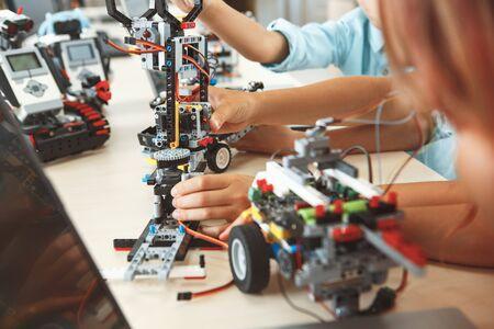 Photo for Robotics. Children having class making robots close-up - Royalty Free Image