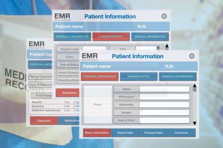 Photo pour Background image for medical and health work showing images of electronic medical record forms. - image libre de droit