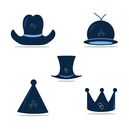 Illustration for photo booth props. Colored and isolated carnival photo booth party. Flat vector set of man and woman hats. Stylish male and female headwear. Baseball cap and elegant panama. Fashion theme - Royalty Free Image