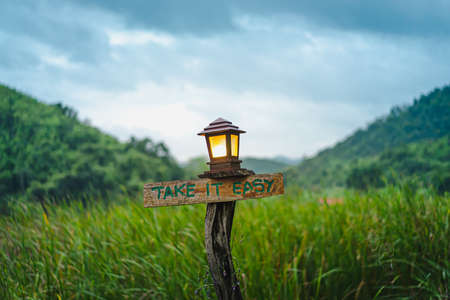 Photo pour An old brown wooden sign with the words TAKE IT EASY on the lush green field. There was a square lamp with orange lights above the stump. Blurred background of trees and blue sky on cloudy days. - image libre de droit