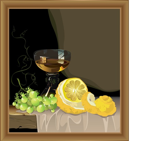 beautiful still life with glass of wine with lemon and grapes