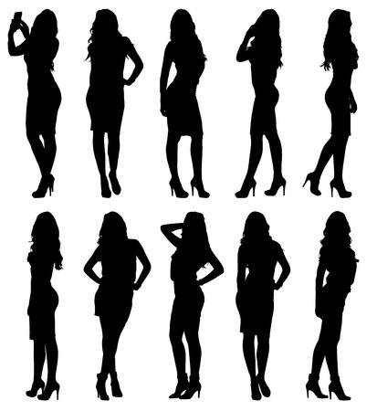 ファッションモデル様々 なポーズで女性のシルエット。セットまたは異なる図形のコレクション。簡単に編集可能な階層化されたベクトルのイラスト。