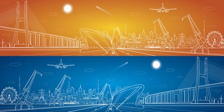 Foto de Big bridge, vector industrial cargo port panorama, vector lines landscape, night city, ship on the water - Imagen libre de derechos