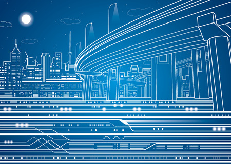 Illustration pour Night city, vector town, vector lines overpass, bridge, underground, train, vector design - image libre de droit