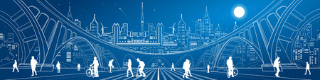 Illustration pour Big bridge, amazing panorama of neon town, a lot of people walking on the street. City life. Architecture and infrastructure illustration. White lines urban landscape, vector design art - image libre de droit