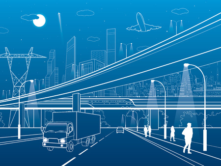 Illustration pour Car overpass, infrastructure, urban plot, airplane takes off, train move ob the bridge, neon city on background, truck on highway, white lines illustration, vector design art - image libre de droit