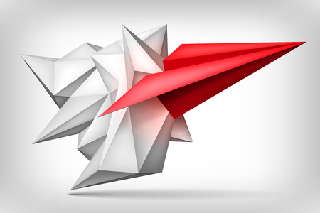 Volume geometric shape, red paper airplane inside, 3d origami crystal, creative low polygons object, vector design form