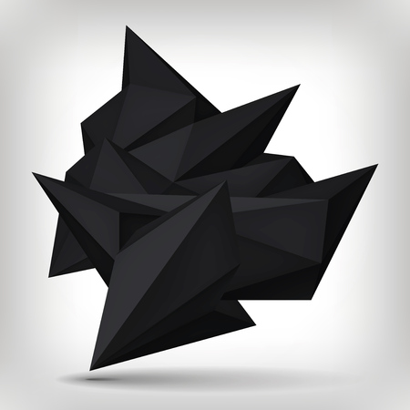 Volume geometric shape, 3d levitation black crystal, creative low polygons dark object, vector design form.