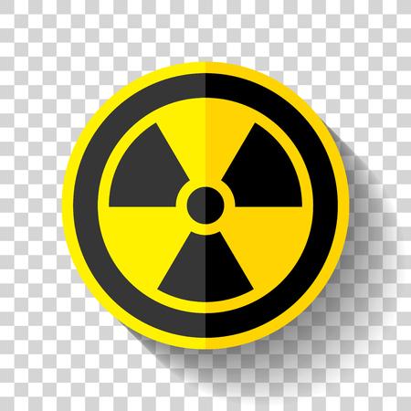 Radiation sign on white background, toxic emblem, vector illustration.